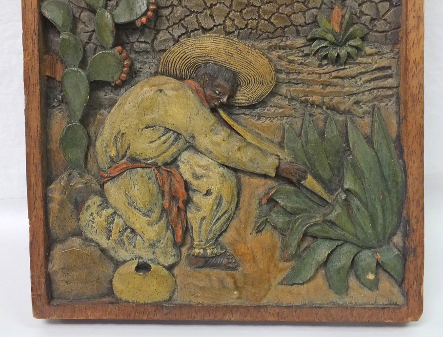 Vintage mexican folk art agave relief carving ebay